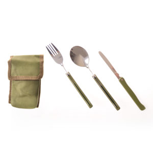 HME08311 Foldable Spoon and Fork with Pouch