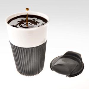DRW08358-3 Ceramic Travel Mug with Rubber Grip