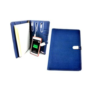 MOB04867 Leatherette Ring Bind Notebook with Power Bank & USB